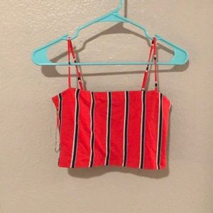 red and blue stripped tube top!